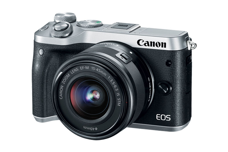 Silver Canon EOS M6 Mirrorless with kit lens