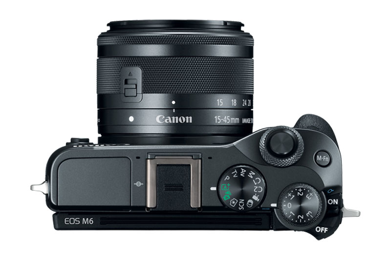 Black Canon EOS M6 mirrorless from the top